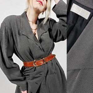 Oversized vintage blazer micro checkered blazer